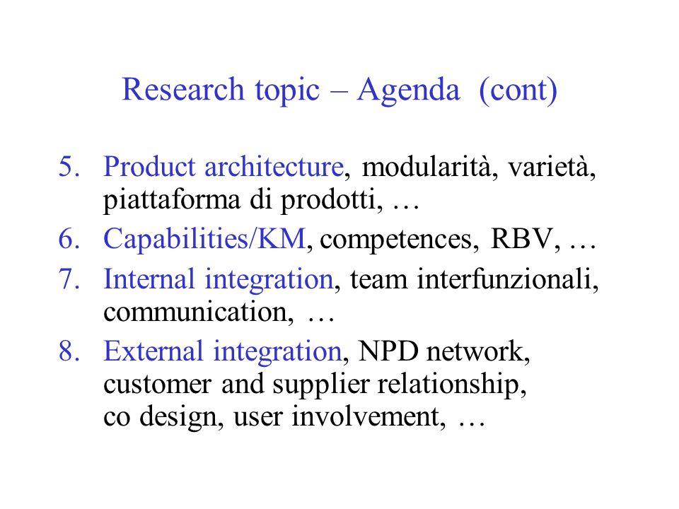 Research topic – Agenda (cont) 5.