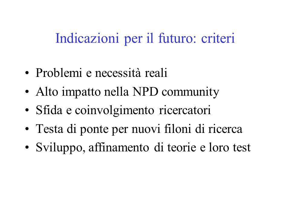 Indicazioni per il futuro: criteri Problemi e necessità reali Alto impatto nella NPD community Sfida e coinvolgimento ricercatori Testa di ponte per nuovi filoni di ricerca Sviluppo, affinamento di teorie e loro test
