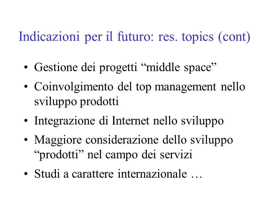Indicazioni per il futuro: res.