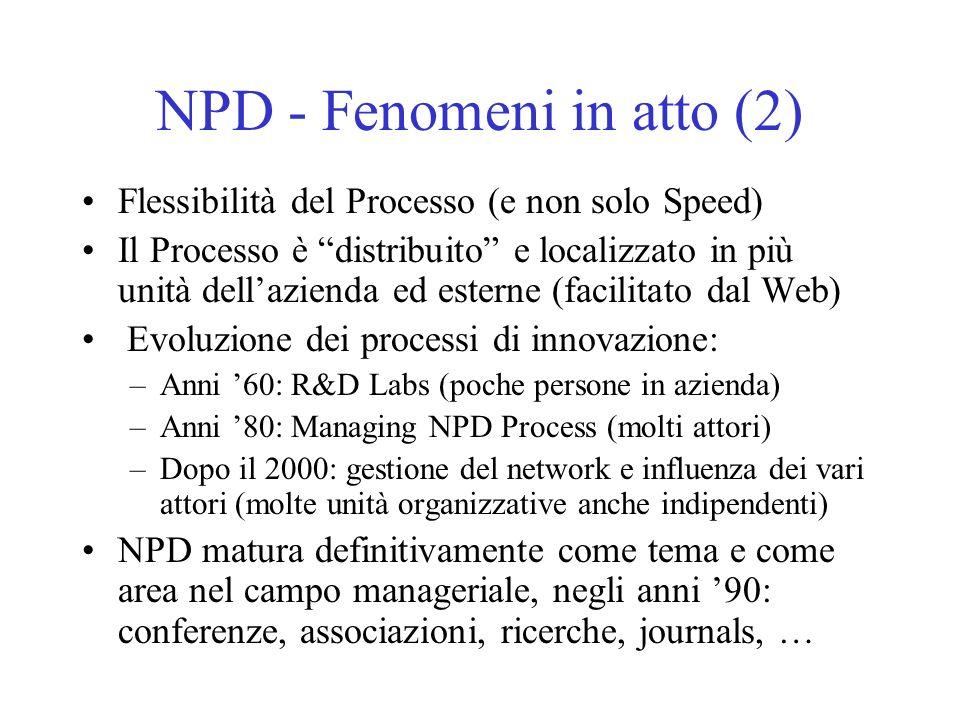 NPD - Fenomeni in atto (2) Flessibilità del Processo (e non solo Speed) Il Processo è distribuito e localizzato in più unità dellazienda ed esterne (facilitato dal Web) Evoluzione dei processi di innovazione: –Anni 60: R&D Labs (poche persone in azienda) –Anni 80: Managing NPD Process (molti attori) –Dopo il 2000: gestione del network e influenza dei vari attori (molte unità organizzative anche indipendenti) NPD matura definitivamente come tema e come area nel campo manageriale, negli anni 90: conferenze, associazioni, ricerche, journals, …