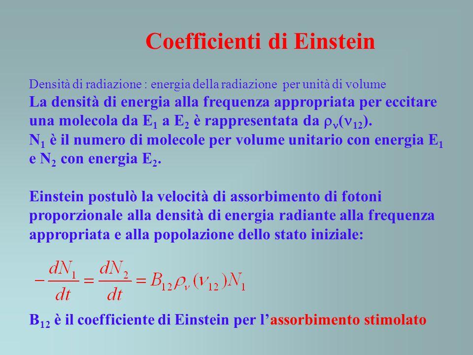 Coefficienti di Einstein Densità di radiazione : energia della radiazione per unità di volume La densità di energia alla frequenza appropriata per ecc