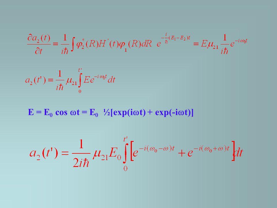 E = E 0 cos t = E 0 ½[exp(i t) + exp(-i t)]