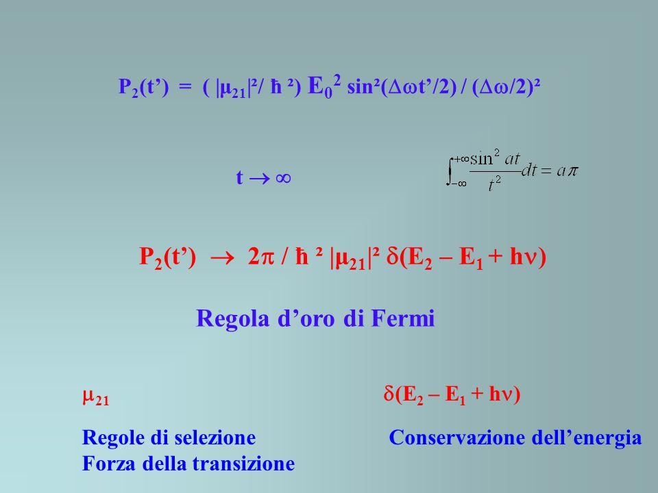 P 2 (t) = ( |μ 21 |²/ ħ ²) E 0 2 sin²( t/2) / ( /2)² t P 2 (t) 2 / ħ ² |μ 21 |² (E 2 – E 1 + h ) Regola doro di Fermi 21 (E 2 – E 1 + h ) Regole di se