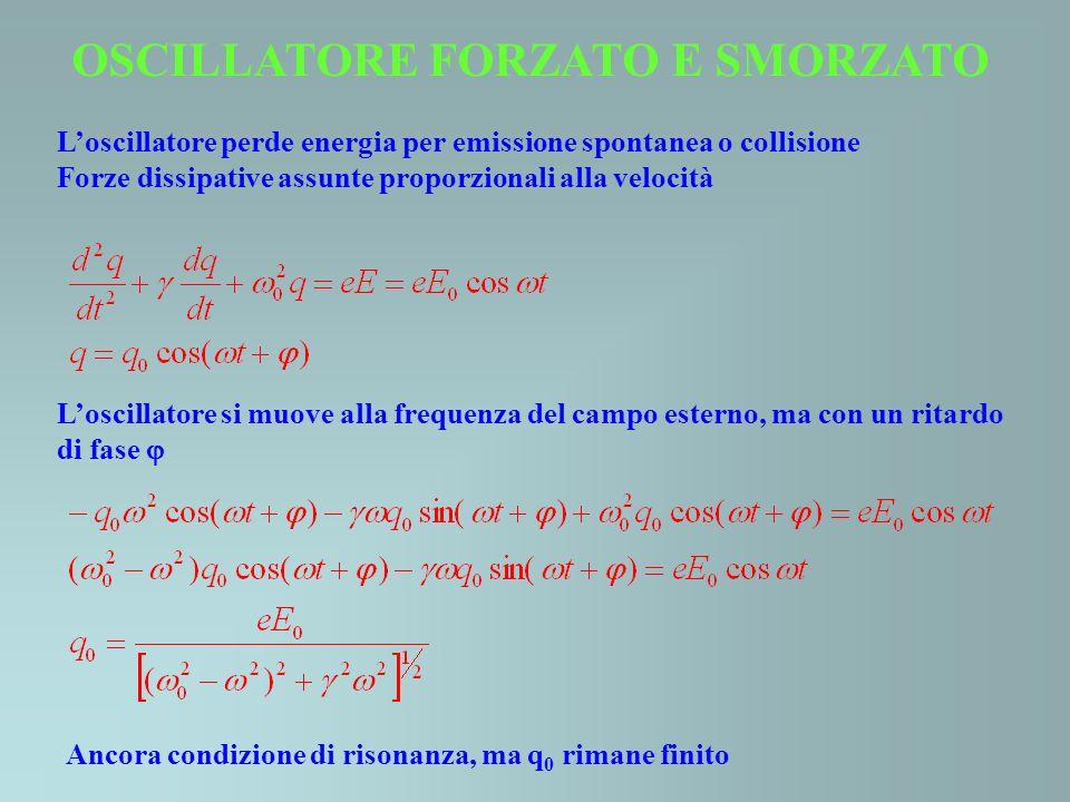 OSCILLATORE FORZATO E SMORZATO Loscillatore perde energia per emissione spontanea o collisione Forze dissipative assunte proporzionali alla velocità L
