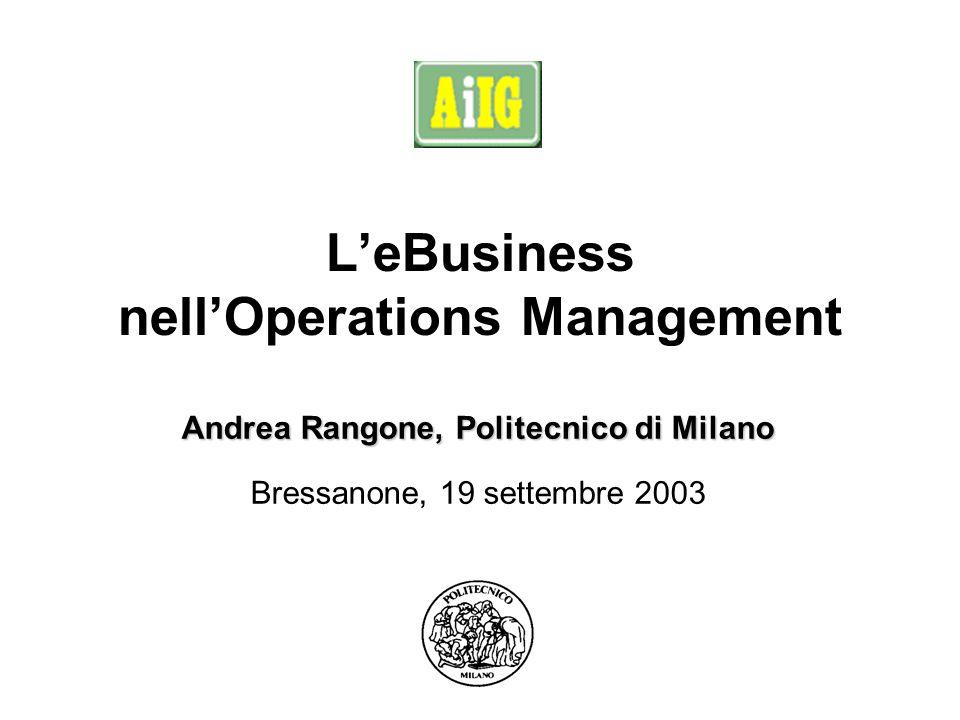 Bressanone, 19 settembre 2003 LeBusiness nellOperations Management Andrea Rangone, Politecnico di Milano Bressanone, 19 settembre 2003