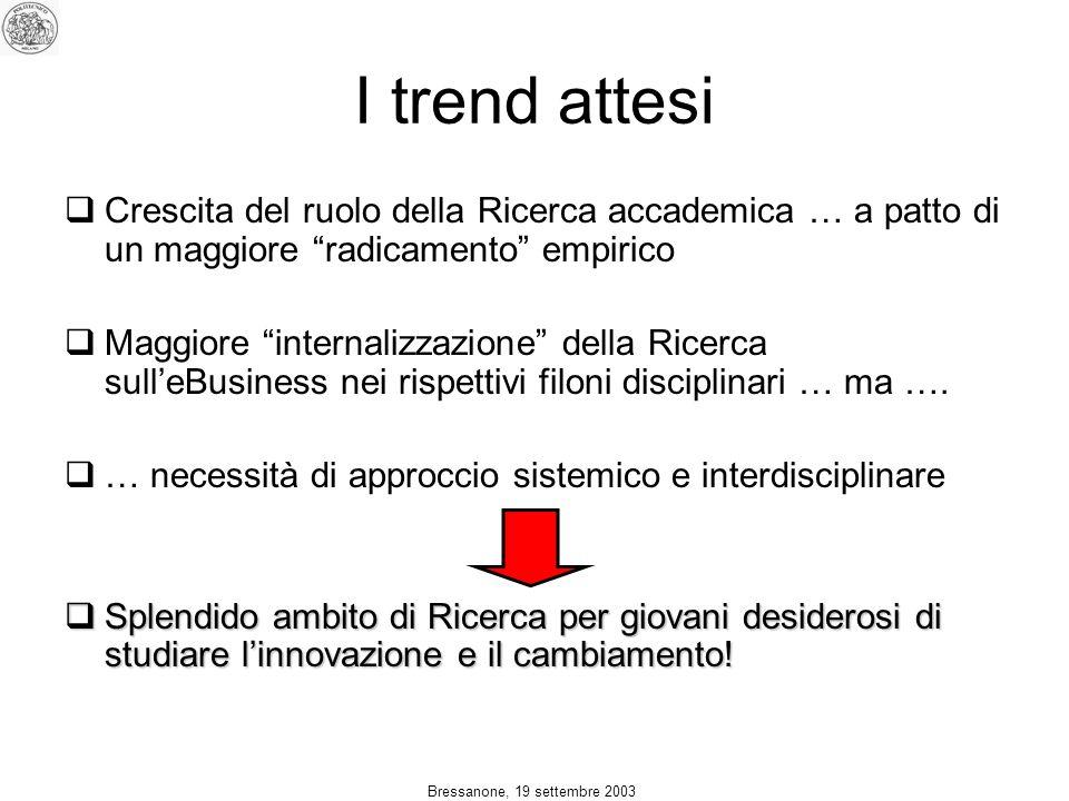 Bressanone, 19 settembre 2003 I trend attesi Crescita del ruolo della Ricerca accademica … a patto di un maggiore radicamento empirico Maggiore internalizzazione della Ricerca sulleBusiness nei rispettivi filoni disciplinari … ma ….