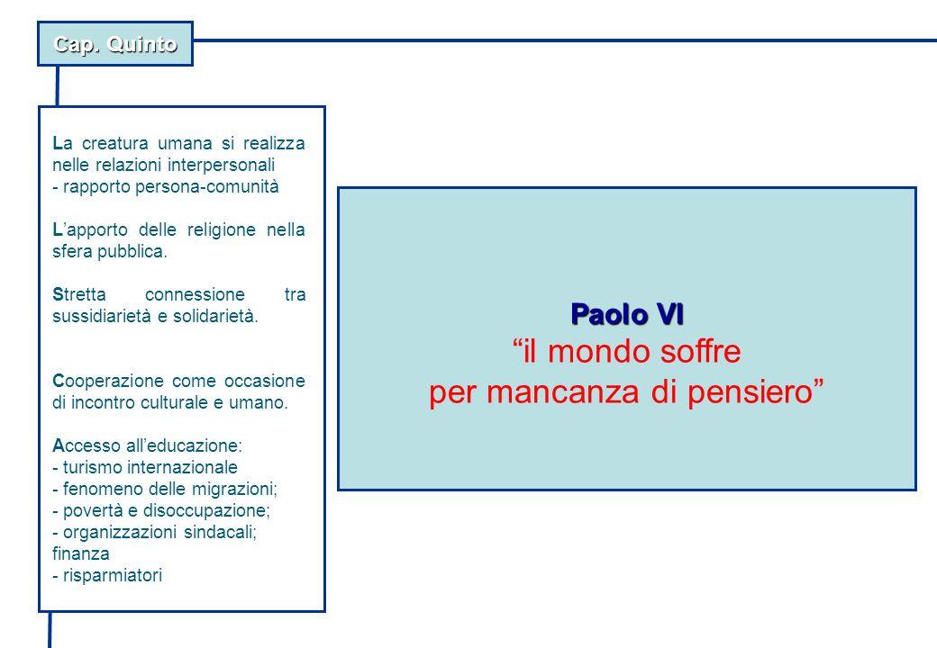 Cap. Quinto Paolo VI il mondo soffre per mancanza di pensiero La creatura umana si realizza nelle relazioni interpersonali - rapporto persona-comunità