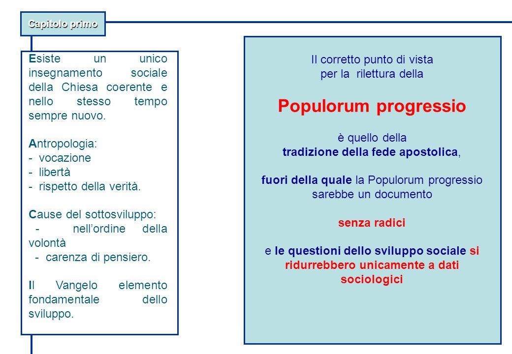 Capitolo primo Il corretto punto di vista per la rilettura della Populorum progressio è quello della tradizione della fede apostolica, fuori della qua