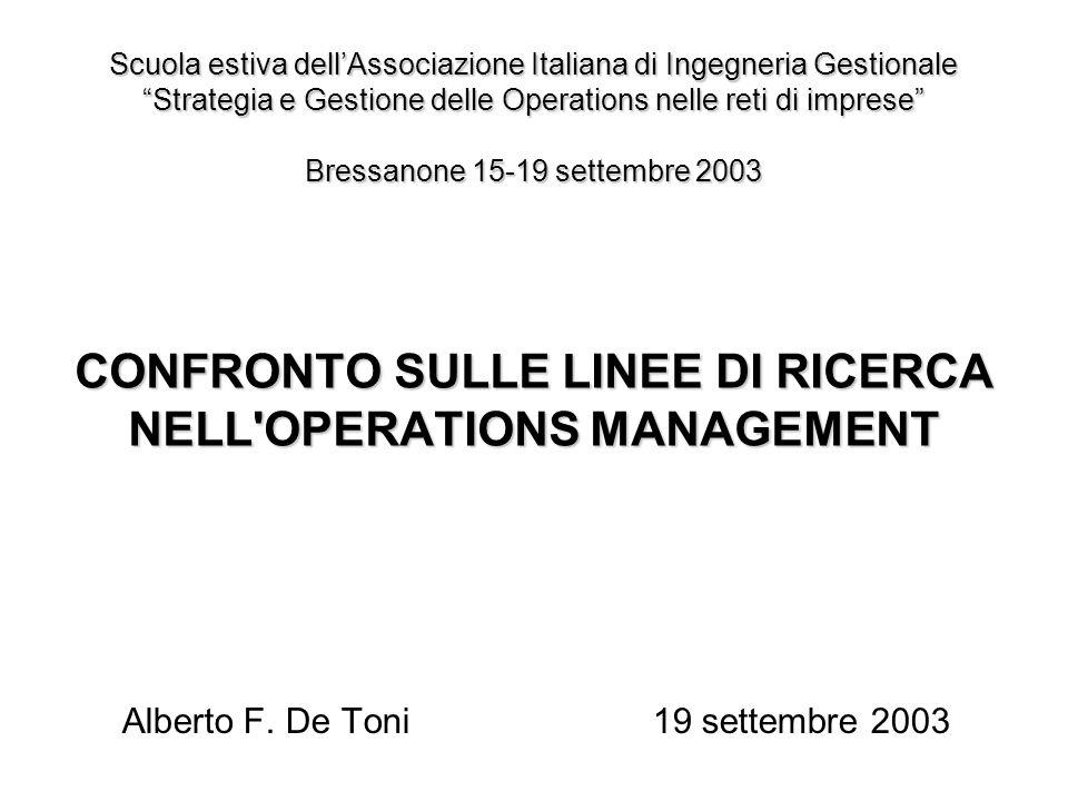 CONFRONTO SULLE LINEE DI RICERCA NELL OPERATIONS MANAGEMENT Alberto F.
