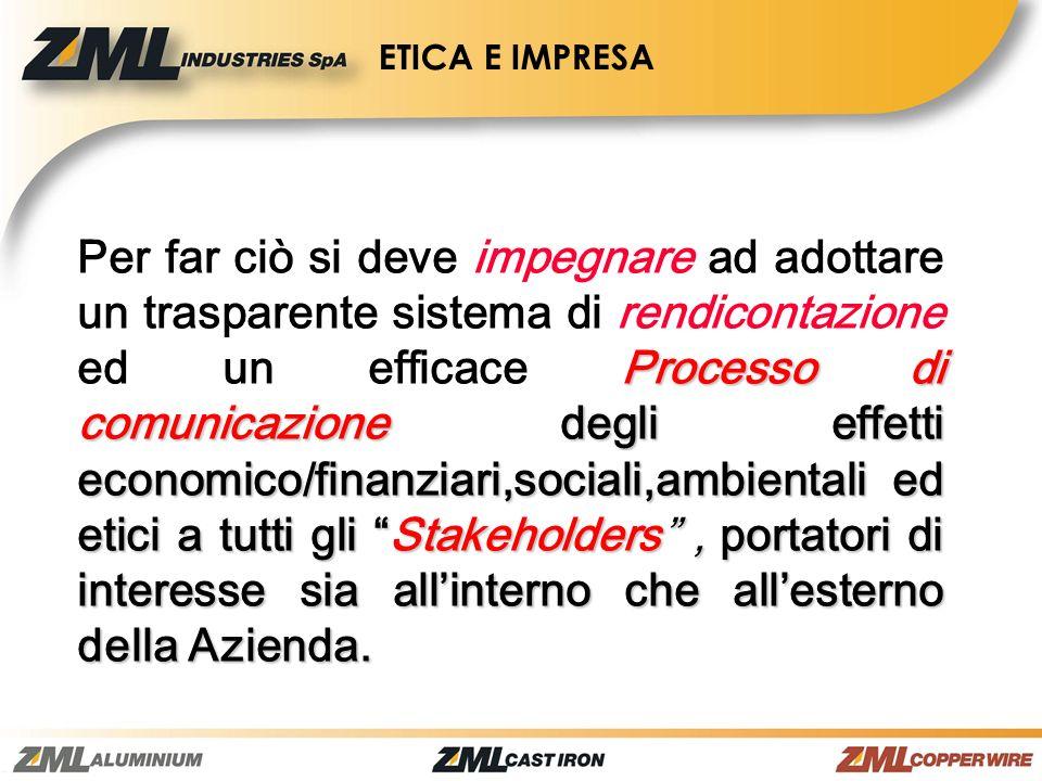 Processo di comunicazione degli effetti economico/finanziari,sociali,ambientali ed etici a tutti gli Stakeholders, portatori di interesse sia allinter