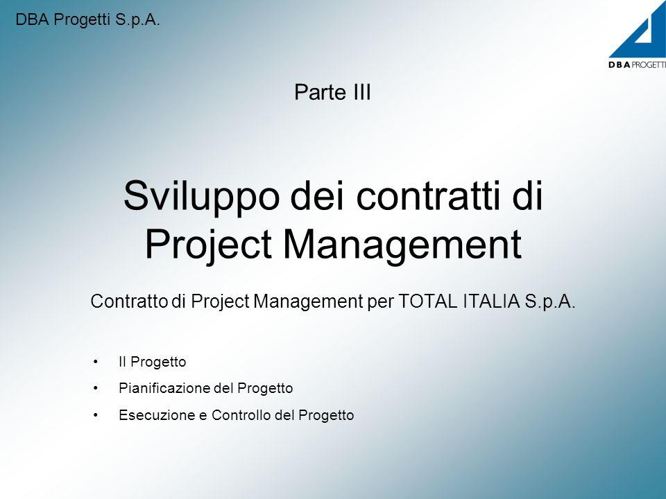 Sviluppo dei contratti di Project Management Contratto di Project Management per TOTAL ITALIA S.p.A. Parte III Il Progetto Pianificazione del Progetto