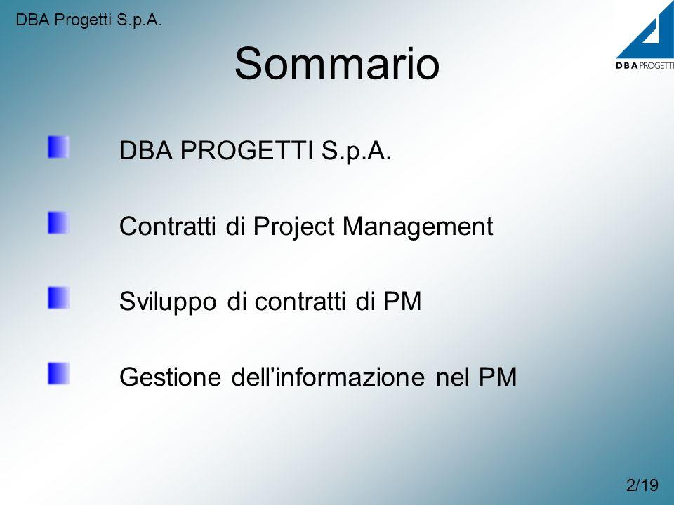 Sommario DBA PROGETTI S.p.A. Contratti di Project Management Sviluppo di contratti di PM Gestione dellinformazione nel PM 2/19 DBA Progetti S.p.A.