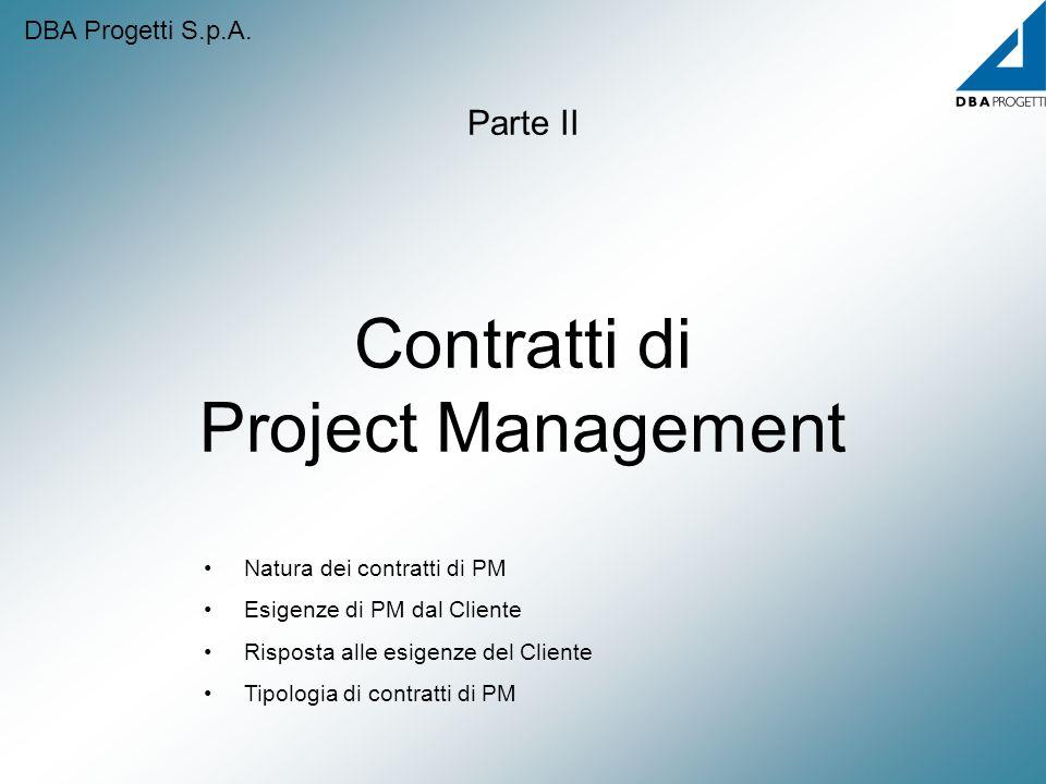 Contratti di Project Management Parte II Natura dei contratti di PM Esigenze di PM dal Cliente Risposta alle esigenze del Cliente Tipologia di contrat