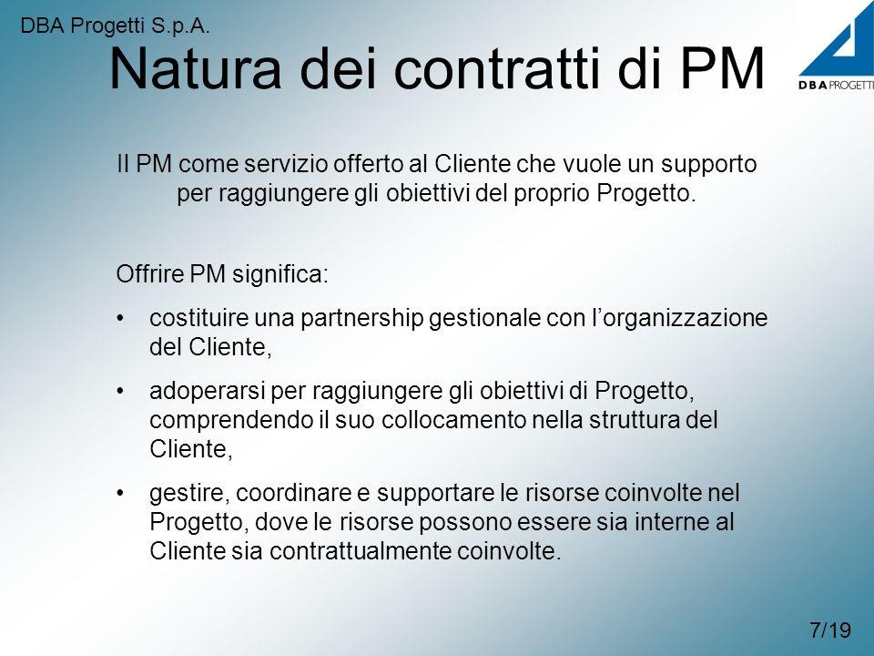 Natura dei contratti di PM 7/19 Il PM come servizio offerto al Cliente che vuole un supporto per raggiungere gli obiettivi del proprio Progetto. Offri