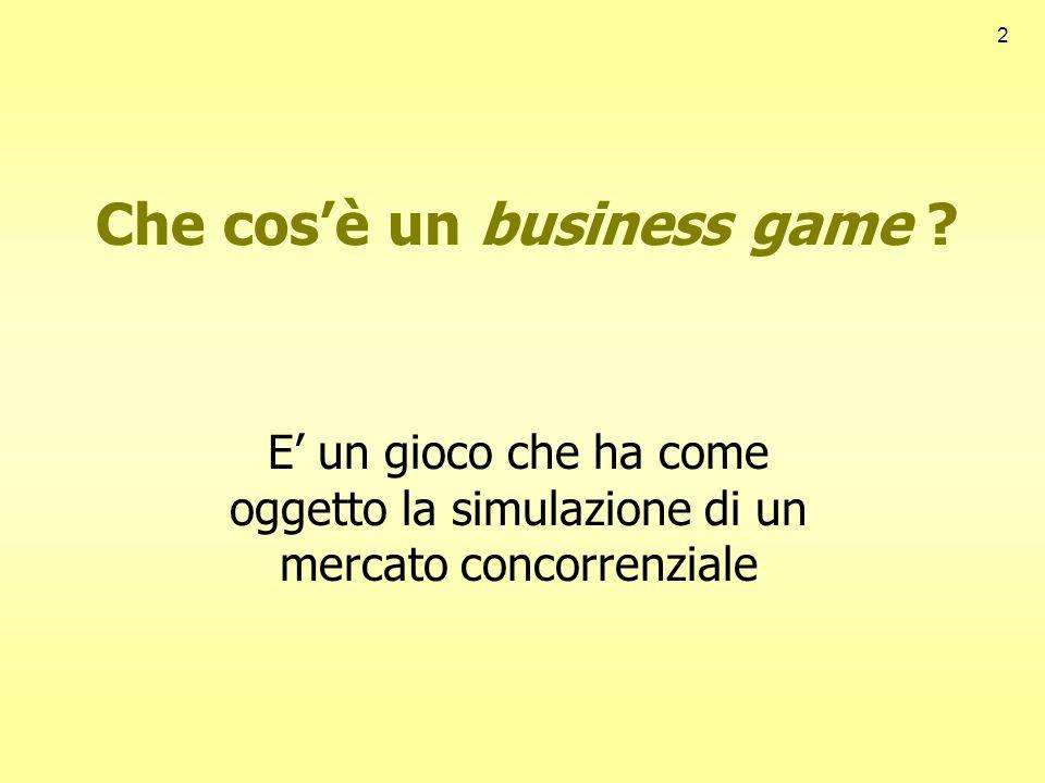 2 Che cosè un business game ? E un gioco che ha come oggetto la simulazione di un mercato concorrenziale
