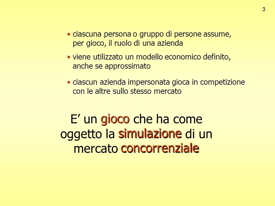 3 ciascuna persona o gruppo di persone assume, per gioco, il ruolo di una azienda viene utilizzato un modello economico definito, anche se approssimat