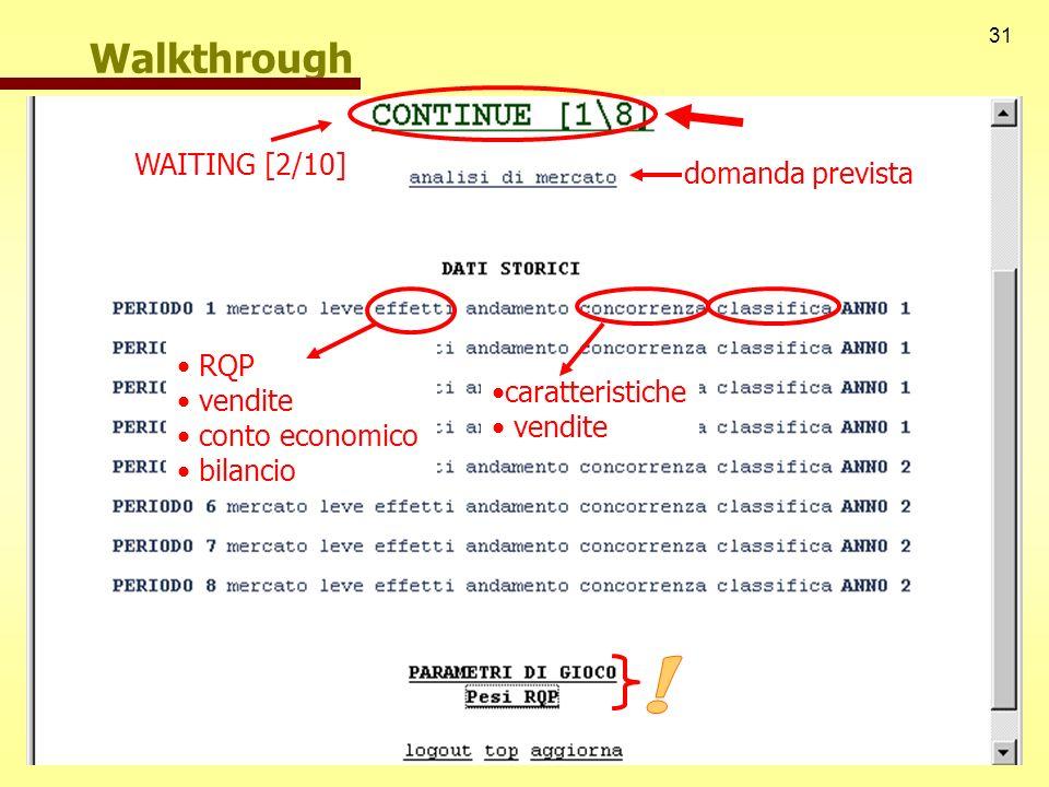31 Walkthrough WAITING [2/10] domanda prevista RQP vendite conto economico bilancio caratteristiche vendite