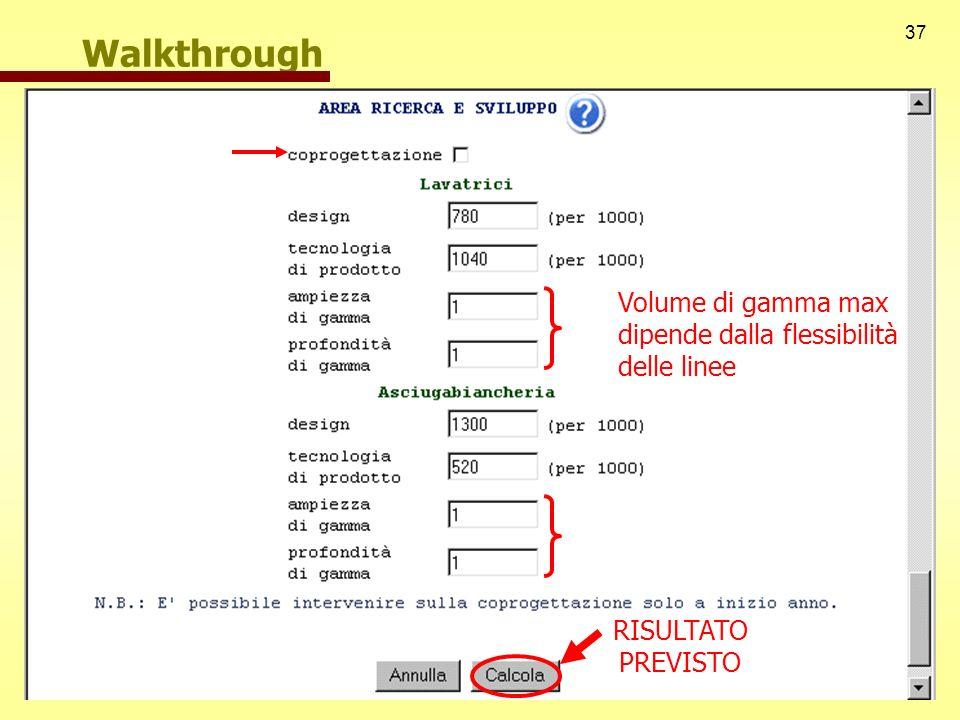 37 Walkthrough Volume di gamma max dipende dalla flessibilità delle linee RISULTATO PREVISTO