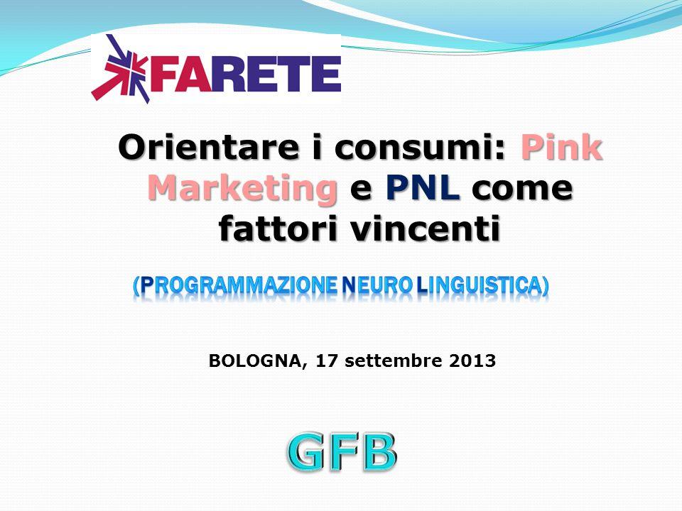BOLOGNA, 17 settembre 2013 Orientare i consumi: Pink Marketing e PNL come fattori vincenti