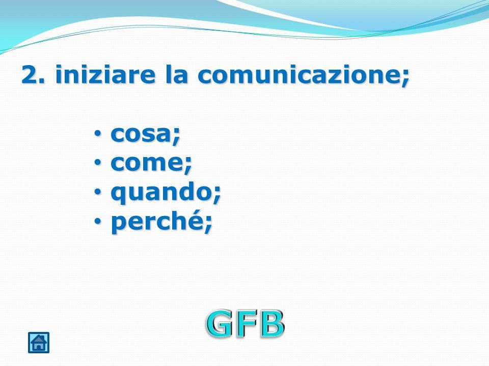 2. iniziare la comunicazione; cosa; cosa; come; come; quando; quando; perché; perché;