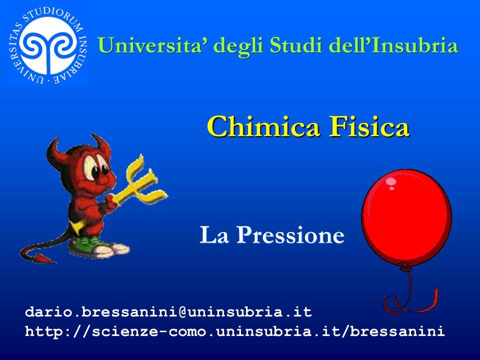 Chimica Fisica La Pressione Universita degli Studi dellInsubria dario.bressanini@uninsubria.it http://scienze-como.uninsubria.it/bressanini