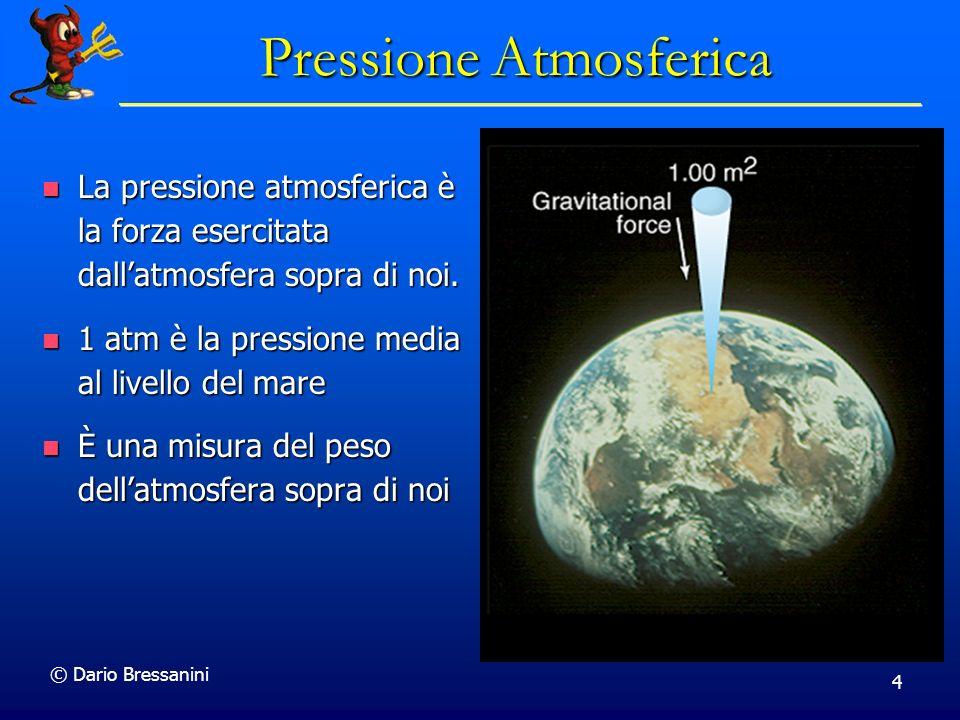 © Dario Bressanini 4 Pressione Atmosferica La pressione atmosferica è la forza esercitata dallatmosfera sopra di noi.