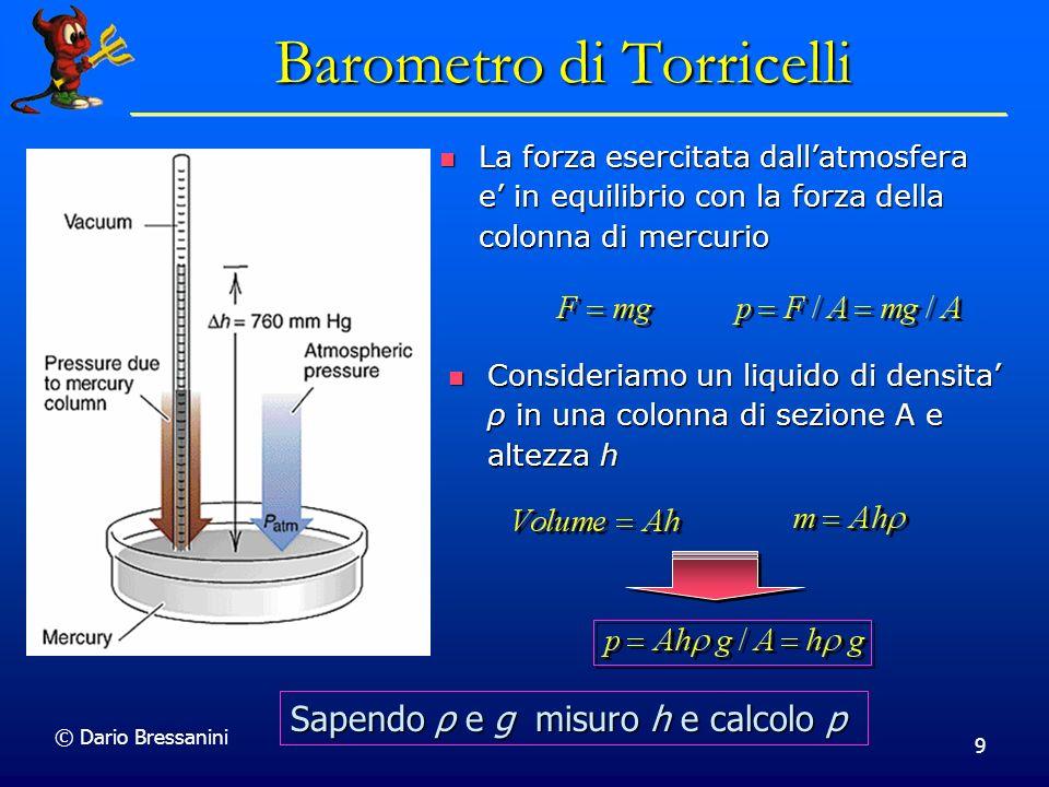© Dario Bressanini Manometro Un manometro è un tubo piegato a U, di solito contenente mercurio.
