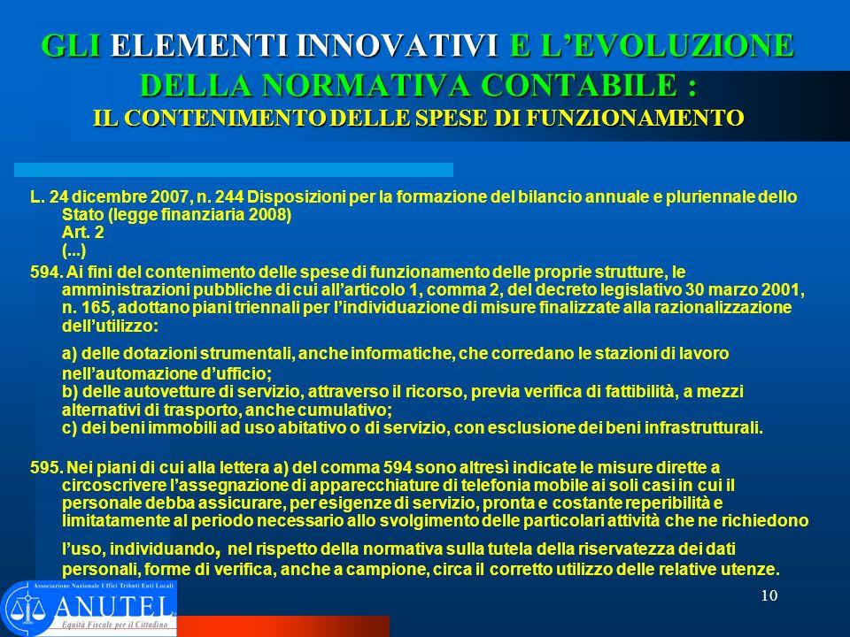 10 GLI ELEMENTI INNOVATIVI E LEVOLUZIONE DELLA NORMATIVA CONTABILE : IL CONTENIMENTO DELLE SPESE DI FUNZIONAMENTO L.