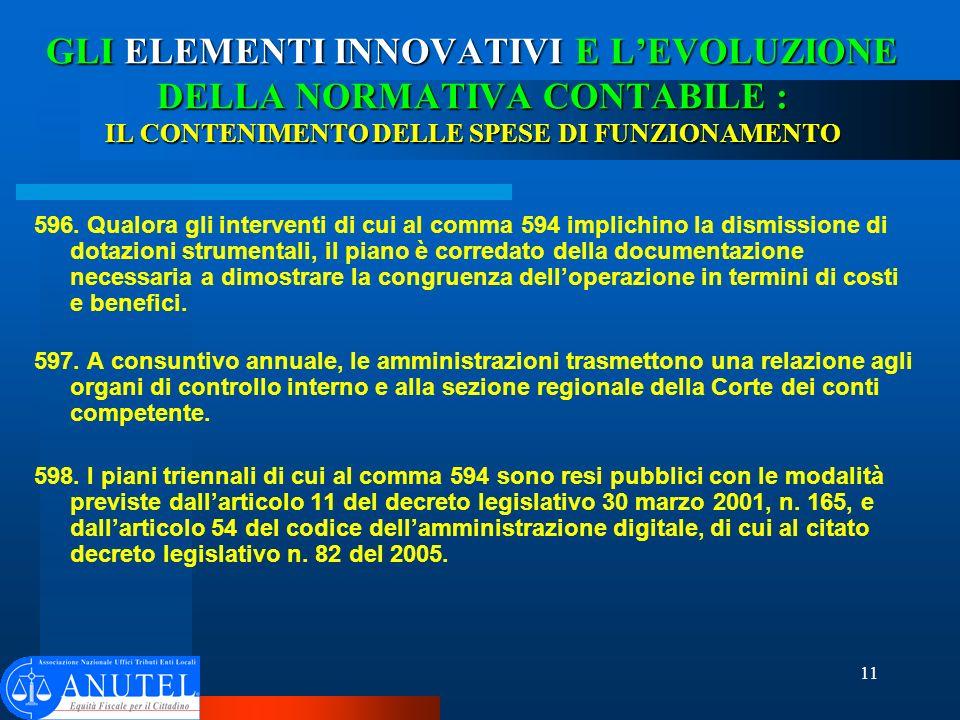 11 GLI ELEMENTI INNOVATIVI E LEVOLUZIONE DELLA NORMATIVA CONTABILE : IL CONTENIMENTO DELLE SPESE DI FUNZIONAMENTO 596.