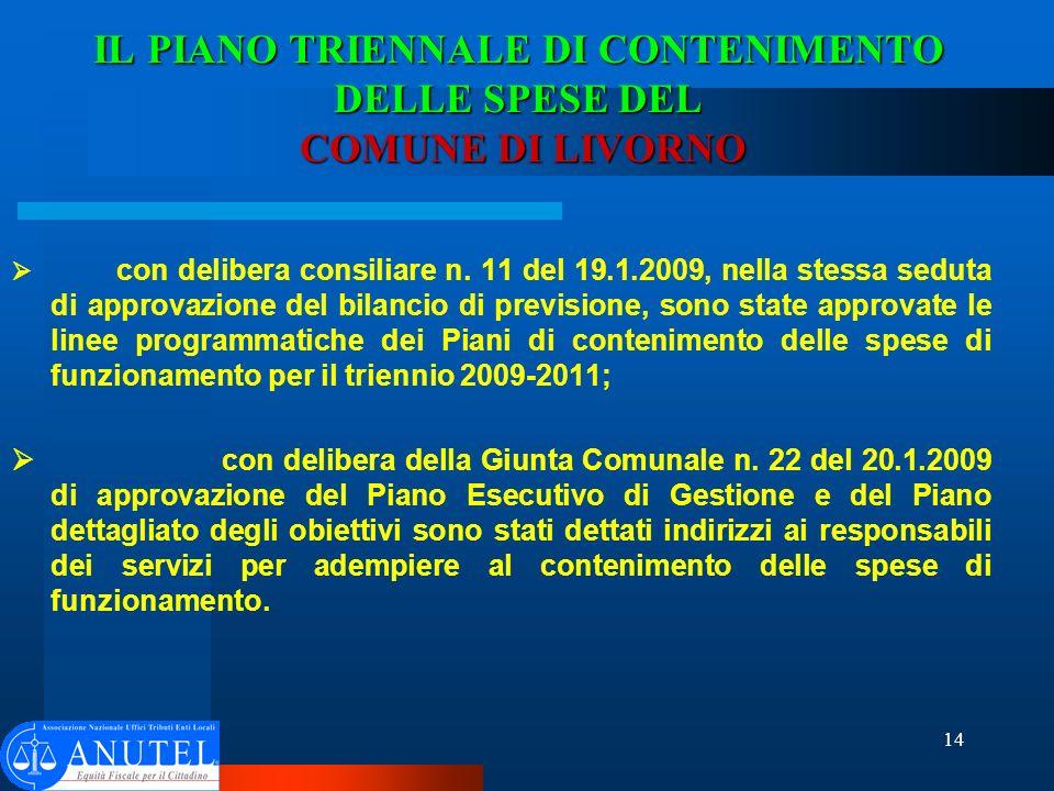 14 IL PIANO TRIENNALE DI CONTENIMENTO DELLE SPESE DEL COMUNE DI LIVORNO con delibera consiliare n.
