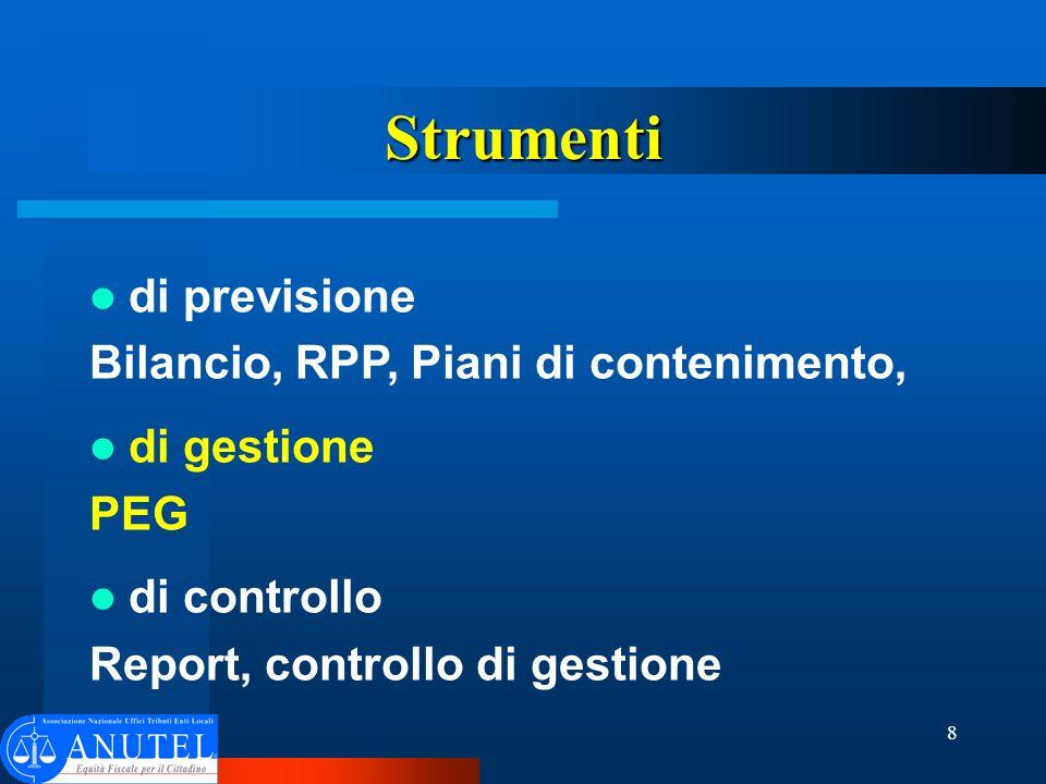 8 Strumenti di previsione Bilancio, RPP, Piani di contenimento, di gestione PEG di controllo Report, controllo di gestione