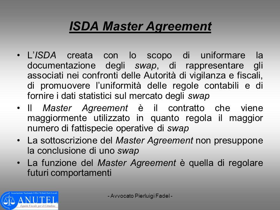 - Avvocato Pierluigi Fadel - ISDA Master Agreement LISDA creata con lo scopo di uniformare la documentazione degli swap, di rappresentare gli associat