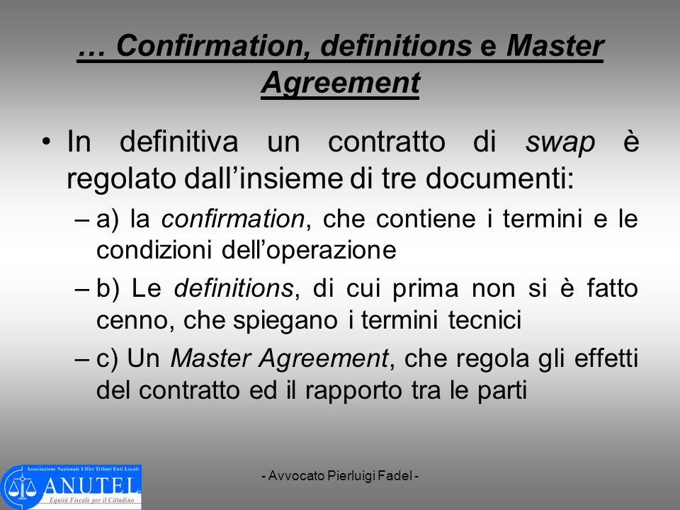 - Avvocato Pierluigi Fadel - … Confirmation, definitions e Master Agreement In definitiva un contratto di swap è regolato dallinsieme di tre documenti