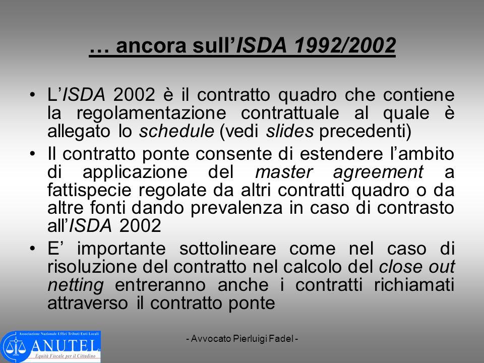 - Avvocato Pierluigi Fadel - … ancora sullISDA 1992/2002 LISDA 2002 è il contratto quadro che contiene la regolamentazione contrattuale al quale è all