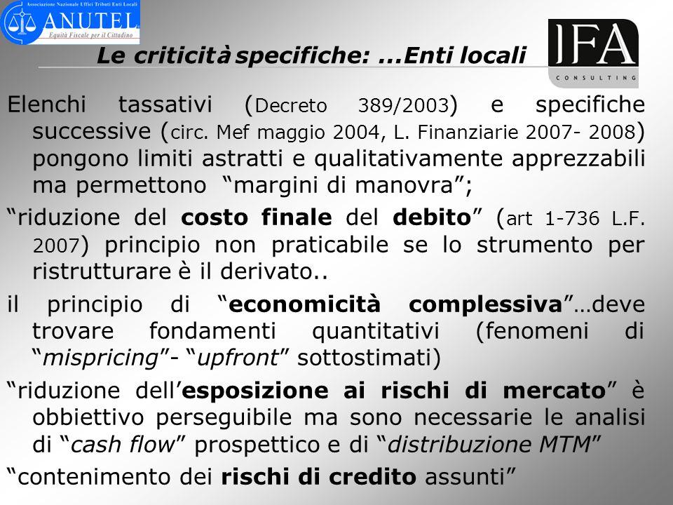 Le criticit à specifiche:...Enti locali Elenchi tassativi ( Decreto 389/2003 ) e specifiche successive ( circ. Mef maggio 2004, L. Finanziarie 2007- 2