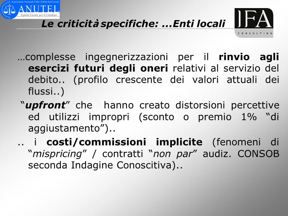 Le criticit à specifiche:...Enti locali …complesse ingegnerizzazioni per il rinvio agli esercizi futuri degli oneri relativi al servizio del debito..