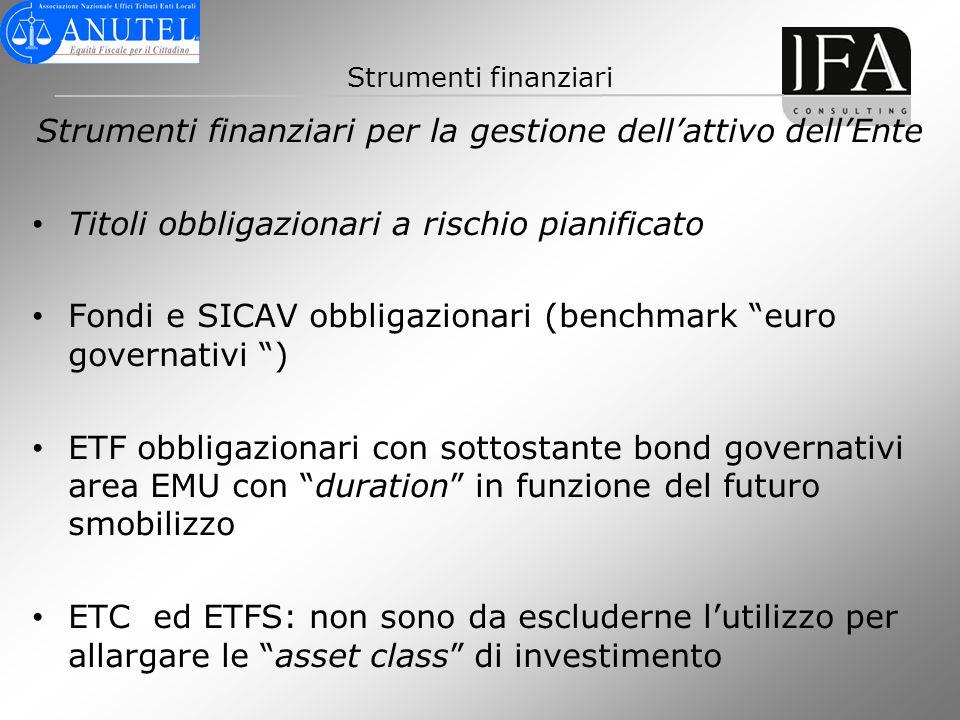 Strumenti finanziari Strumenti finanziari per la gestione dellattivo dellEnte Titoli obbligazionari a rischio pianificato Fondi e SICAV obbligazionari