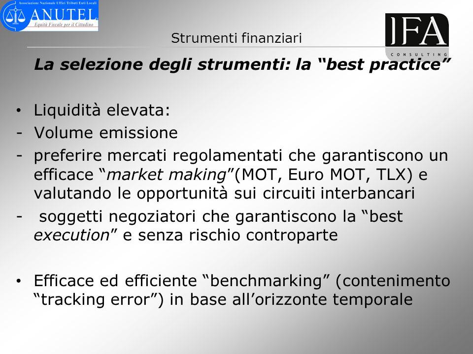 Strumenti finanziari La selezione degli strumenti: la best practice Liquidità elevata: - Volume emissione -preferire mercati regolamentati che garanti