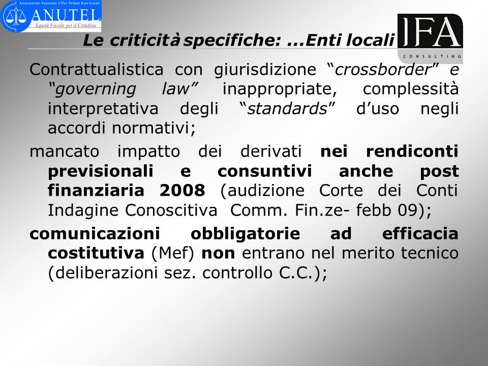 Le criticit à specifiche:...Enti locali Contrattualistica con giurisdizione crossborder e governing law inappropriate, complessità interpretativa degl