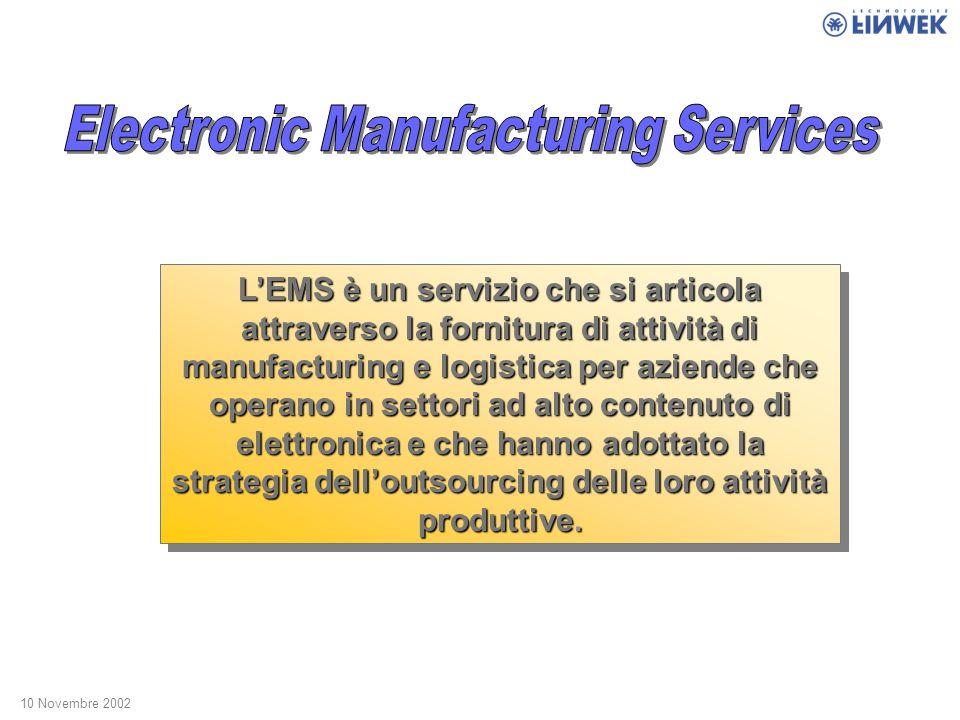 LEMS è un servizio che si articola attraverso la fornitura di attività di manufacturing e logistica per aziende che operano in settori ad alto contenuto di elettronica e che hanno adottato la strategia delloutsourcing delle loro attività produttive.