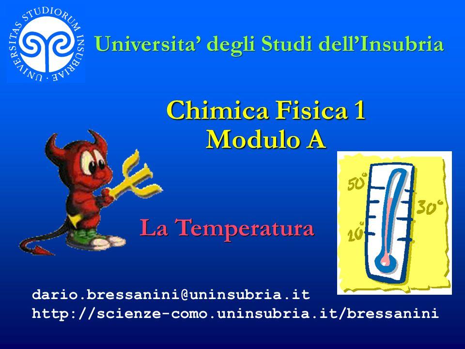 La Temperatura Universita degli Studi dellInsubria dario.bressanini@uninsubria.it http://scienze-como.uninsubria.it/bressanini Chimica Fisica 1 Modulo