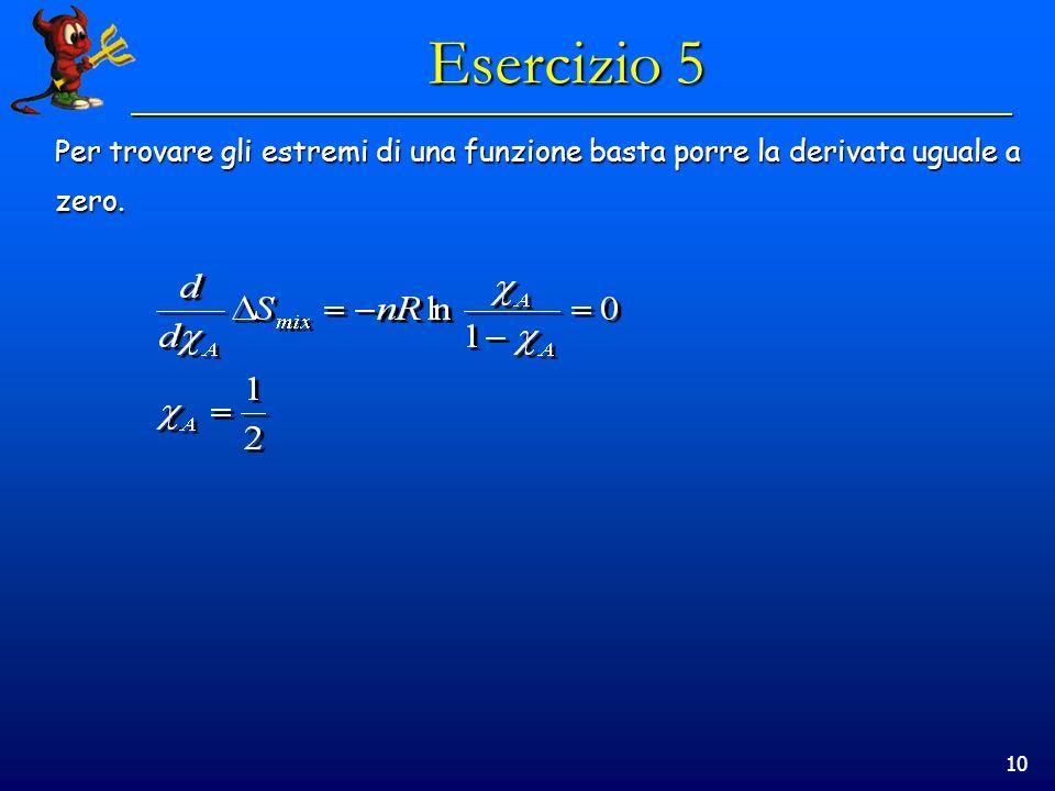 10 Esercizio 5 Per trovare gli estremi di una funzione basta porre la derivata uguale a zero.