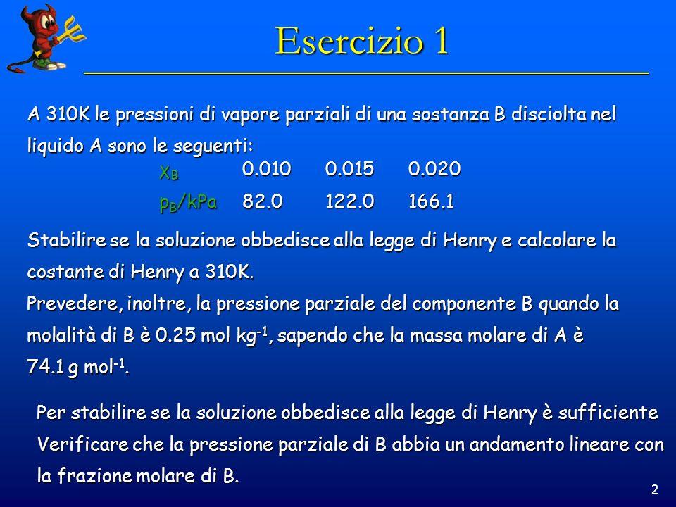 2 Esercizio 1 A 310K le pressioni di vapore parziali di una sostanza B disciolta nel liquido A sono le seguenti: Stabilire se la soluzione obbedisce alla legge di Henry e calcolare la costante di Henry a 310K.