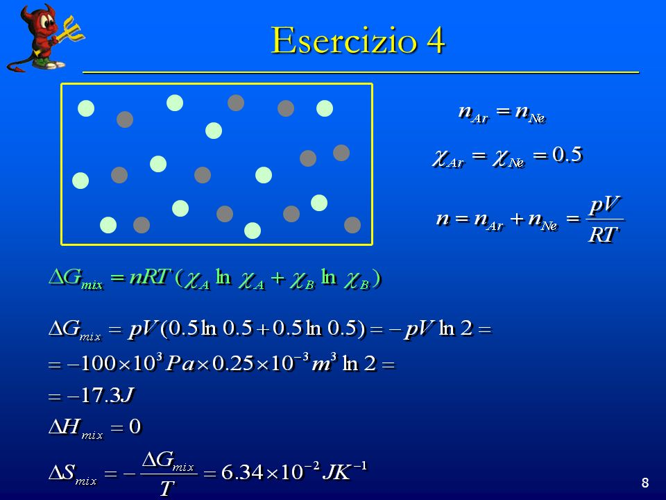9 Esercizio 5 Che proporzione di benzene e etilbenzene devono essere mischiate per Ottenere il massimo di entropia di mescolamento?