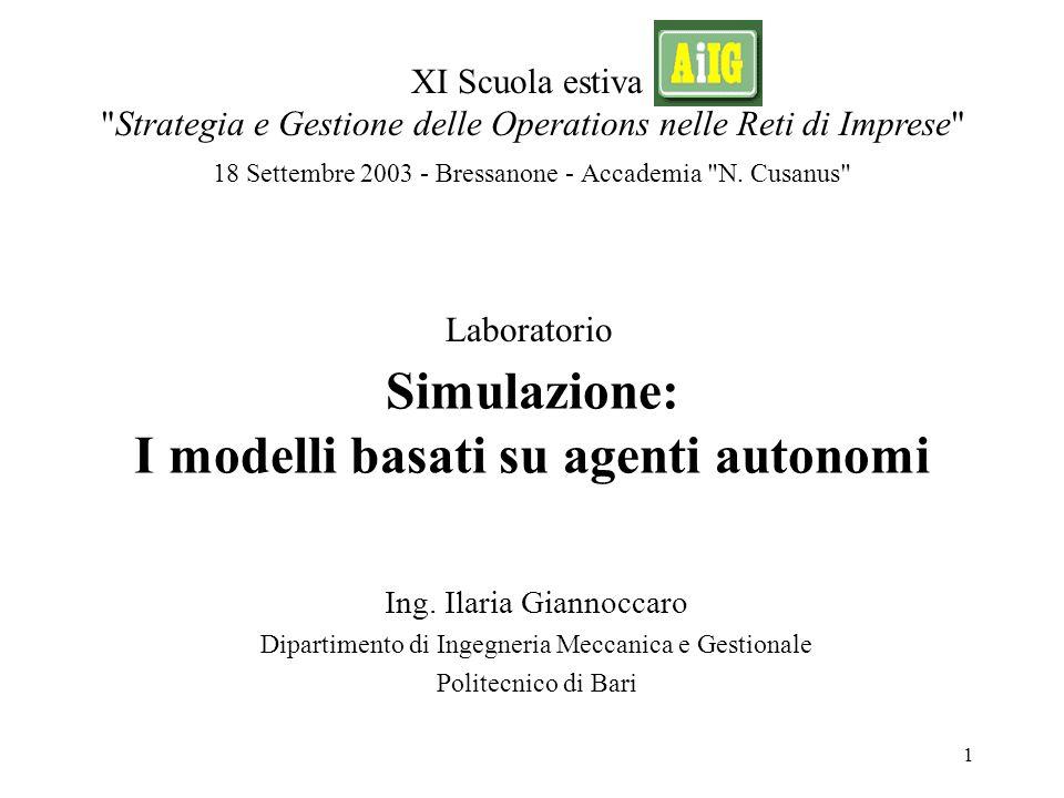 XI Scuola AiIG - 18 Settembre 2003 - Bressanone 12 Simulazione basata sugli agenti Ing.