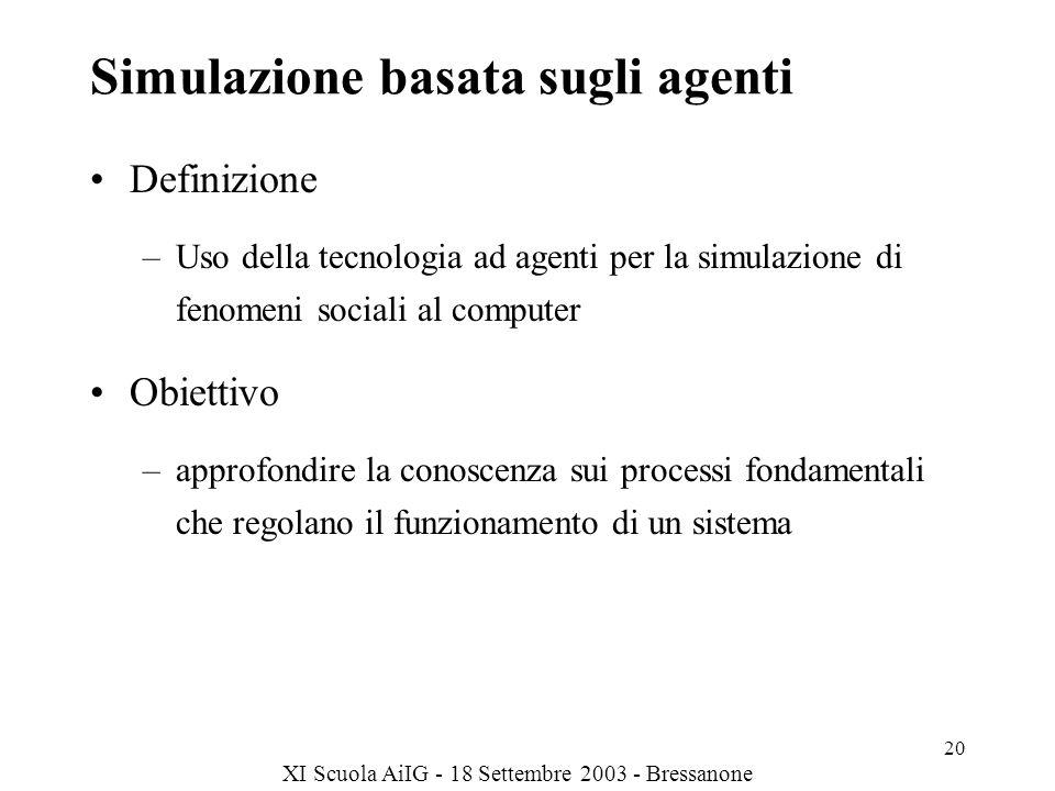 XI Scuola AiIG - 18 Settembre 2003 - Bressanone 20 Simulazione basata sugli agenti Definizione –Uso della tecnologia ad agenti per la simulazione di fenomeni sociali al computer Obiettivo –approfondire la conoscenza sui processi fondamentali che regolano il funzionamento di un sistema