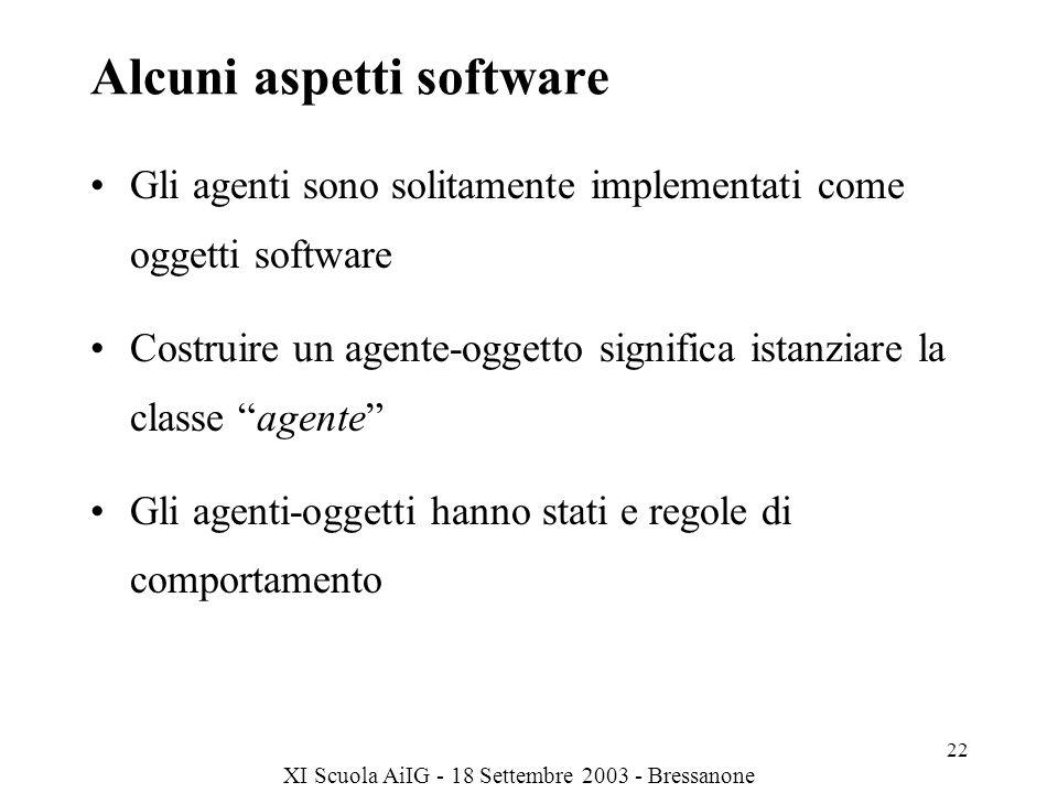 XI Scuola AiIG - 18 Settembre 2003 - Bressanone 22 Alcuni aspetti software Gli agenti sono solitamente implementati come oggetti software Costruire un agente-oggetto significa istanziare la classe agente Gli agenti-oggetti hanno stati e regole di comportamento