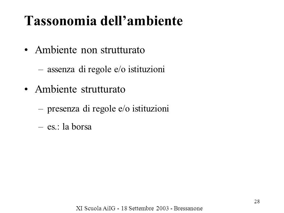 XI Scuola AiIG - 18 Settembre 2003 - Bressanone 28 Tassonomia dellambiente Ambiente non strutturato –assenza di regole e/o istituzioni Ambiente strutturato –presenza di regole e/o istituzioni –es.: la borsa