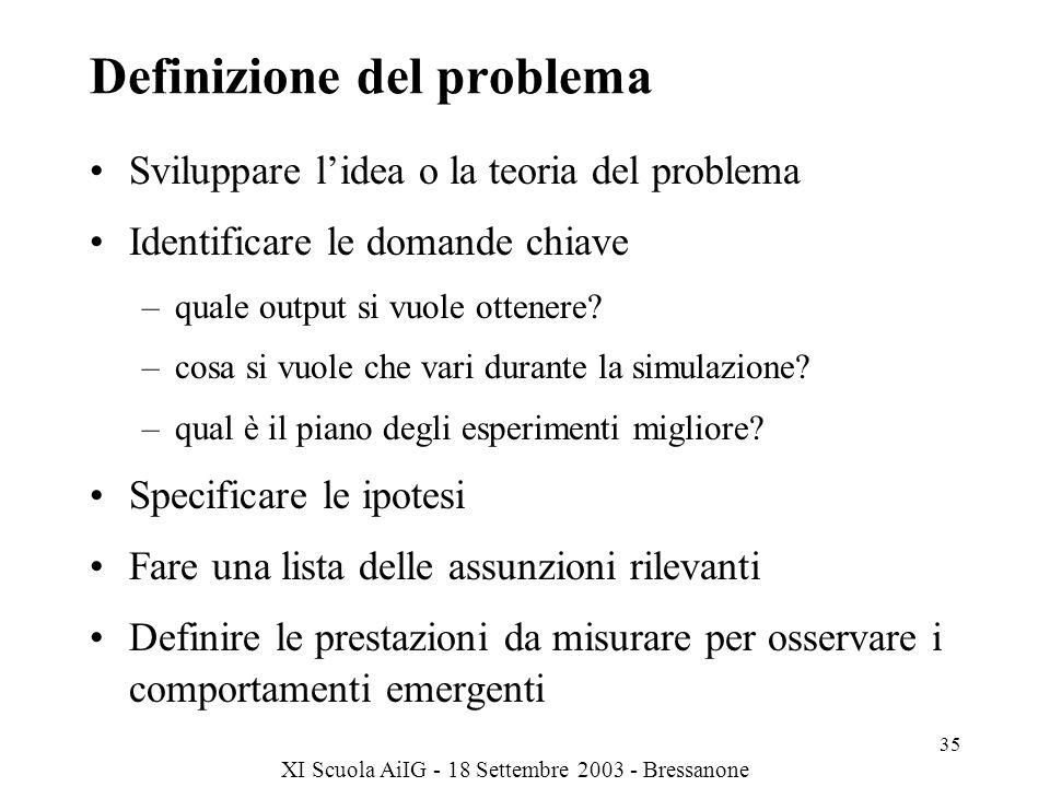 XI Scuola AiIG - 18 Settembre 2003 - Bressanone 35 Definizione del problema Sviluppare lidea o la teoria del problema Identificare le domande chiave –quale output si vuole ottenere.