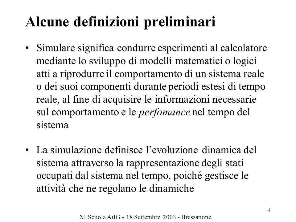 XI Scuola AiIG - 18 Settembre 2003 - Bressanone 4 Alcune definizioni preliminari Simulare significa condurre esperimenti al calcolatore mediante lo sviluppo di modelli matematici o logici atti a riprodurre il comportamento di un sistema reale o dei suoi componenti durante periodi estesi di tempo reale, al fine di acquisire le informazioni necessarie sul comportamento e le perfomance nel tempo del sistema La simulazione definisce levoluzione dinamica del sistema attraverso la rappresentazione degli stati occupati dal sistema nel tempo, poiché gestisce le attività che ne regolano le dinamiche